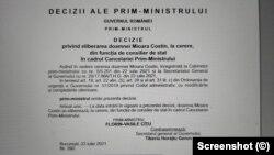 Decizia semnată de premierul Florin Cîțu