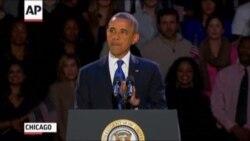 Обама дар Чикаго дар баробари тарафдоронаш суханронӣ кард