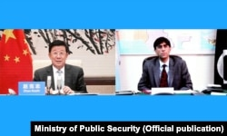 وزیر امنیت عمومی چین ، ژائو کجی ، در ملاقات مجازی با موید یوسف ، مشاور امنیت ملی نخست وزیر پاکستان در مورد تهدیدات امنیتی در این کشور ، 24 آگوست 2021.