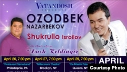 Ozodbek Nazarbekov va Shukrullo Isroilovning AQShdagi kontserti afishasi.