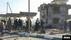 Reports say the suicide bomber detonated his car bomb at a gas station with an adjacent restaurant used by Iranian pilgrims.