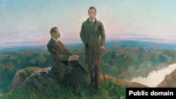 """Амир Арсланов. """"Встреча Г.Тукая и М.Гафури"""". 1986 год. БГХМ"""