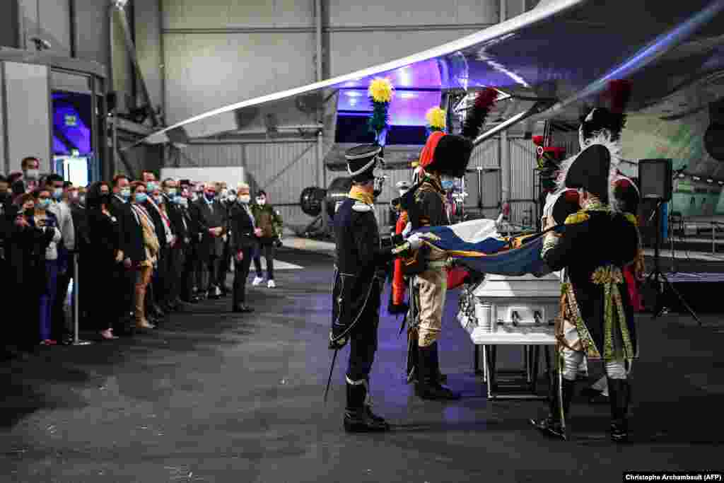 The French repatriation ceremony took place beneath the wing of a retired Concorde jet. The general will be buried at the Invalides war mausoleum in Paris on December 2, the anniversary of Napoleon's 1805 victory over the Russian and Austrian armies at Austerlitz.