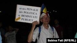 La un protest anti-guvernamental la București