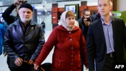 The parents of Akbarjon Jalilov, who has been identified by Russia's investigators as the bomber in the St. Petersburg subway blast, arrive at Pulkovo airport in St. Petersburg on April 5.