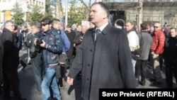 Srđan Milić na protestu, foto: Savo Prelević