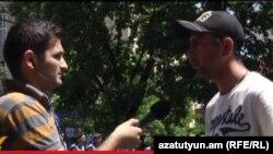 «Ո՛չ թալանին» նախաձեռնության անդամ Վաղինակ Շուշանյանը զրուցում է «Ազատության» հետ, 24-ը հունիսի, 2014թ.