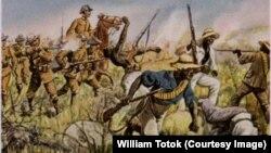 Germani luptă contra tribului Herero, pictură din 1904 de Richard Knötel (1857-1914)