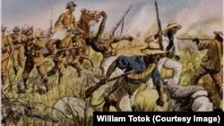 Germanii nimicesc tribul african Herero, pictură din 1904 de Richard Knötel (1857-1914). Acesta este considerat primul genocid din istoria modernă.