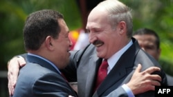 Venezuelan Presidente Hugo Chavez (left) and visiting Belarusian President Alyaksandr Lukashenko in Caracas on March 15.
