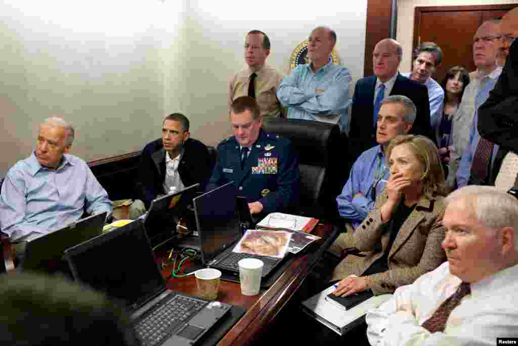 The president and his national security team receive updates in the Situation Room of the White House on May 1, as U.S. Special Forces conduct a raid on the compound of Osama bin Laden in  Abbottabad, Pakistan. The Al-Qaeda leader and four others were killed in the raid.