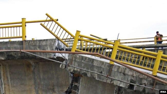 A Bridge destroyed in Kermanshah floods.