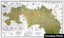 Мапа этнічнай тэрыторыі лэмкаў і русінаў