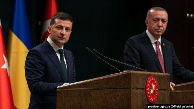Президент Украины Владимир Зеленский и президент Турции Реджеп Эрдоган, 7 августа 2019 года