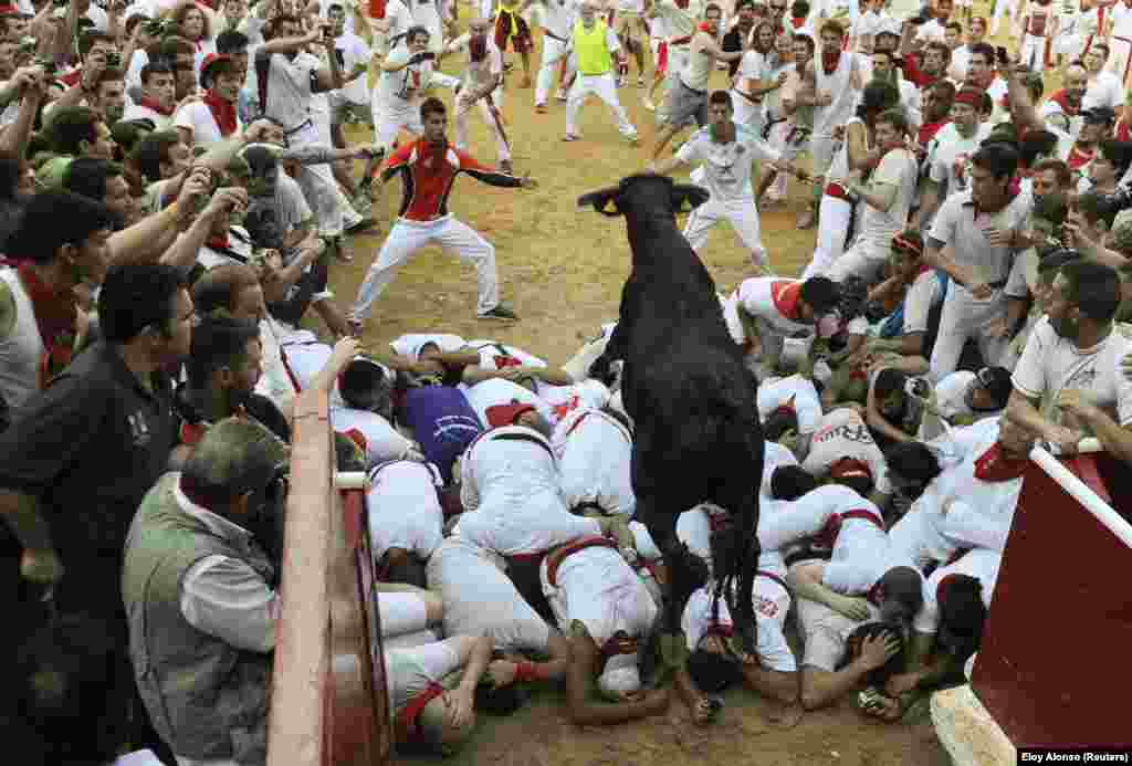 A fighting cow leaps over revelers upon entering the bullring following the second running of the bulls of the San Fermin festival in Pamplona, Spain. (Reuters/Eloy Alonso)