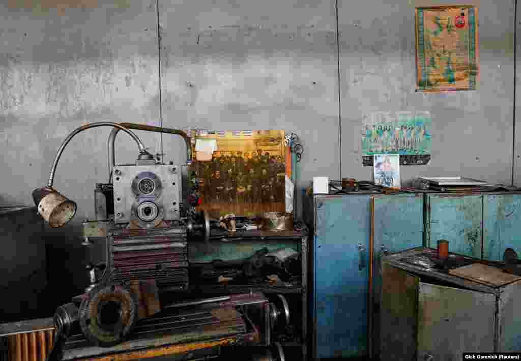 An abandoned workstation in the factory lays idle.  The site has the attention of Ukrainian officials again as the number of COVID-19 patients in Ukraine and elsewhere continues to rise. The coronavirus usually attacks patients' lungs, rendering some unable to breathe without a ventilator.