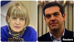 از راست: الکسی سیپراس و هلگا اشمید
