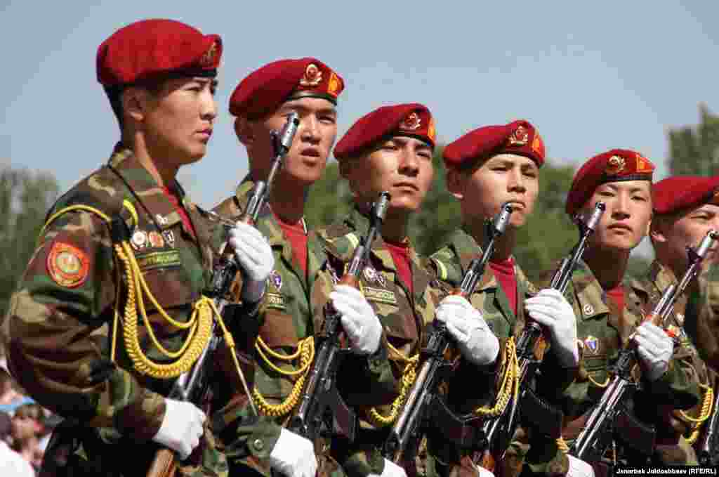 Soldiers parade in Bishkek.
