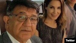 مسعود مصاحب، بازرگان اتریشی ایرانیتبار در کنار دخترش