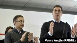 Nebojša Stefanović, bivši ministar unutrašnjih poslova, a sada ministar odbrane, i predsednik Srbije Aleksandar Vučić, mart 2018.