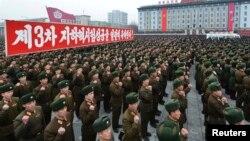 Војската на Северна Кореа на прославата на третиот нуклеарен тест во минатиот месец.