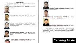 Інформація з сайту МВС Казахстану щодо розшукуваних через теракти в Актобе
