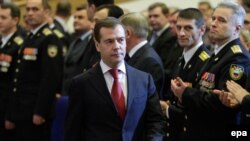 Russian President Dmitry Medvedev at a meeting of Federal Security Service (FSB) officers and veterans in Moscow in December 2009.