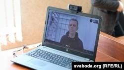 Во время слушания дела фотокорреспондента Радио Свободная Европа / Радио Свобода (RFE/RL) и портала TUT.BY Владимира Гридина.