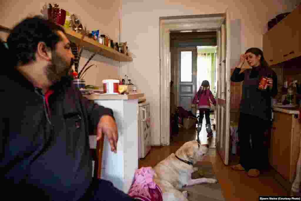 At home with his family in the Zizkov neighborhood of Prague