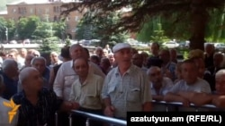 Armenia - Chemical plant workers rally in Vanadzor to demand their back wages, 27Aug2014.