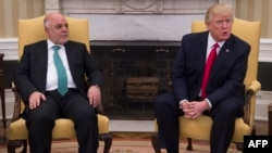 Премьер-министр Ирака Хайдер Аль-Абади и президент США Дональд Трамп.