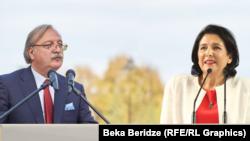 Грузия президенттігіне кандидаттар Григол Вашадзе (сол жақта) мен Саломе Зурабишвили.