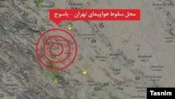 Предполагаемый район падения самолета иранской авиакомпании Aseman Airlines.