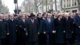 الرئيس الفرنسي وعدد من زعماء العالم في مسيرة باريس - 11 كانون الثاني 2015