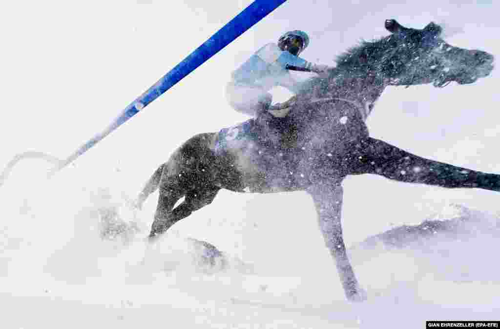 Riders and horses compete in one of the annual White Turf races held on a frozen lake in St. Moritz, Switzerland. (epa-EFA/Gian Ehrenzeller)