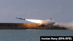 A handout photo made available by the Iranian Navy office shows Iranian navy test fires ground-to-ship short-range cruise missile Ghader during an Iranian navy military drill on the Sea of Oman, southern Iran, 23 February 2019.