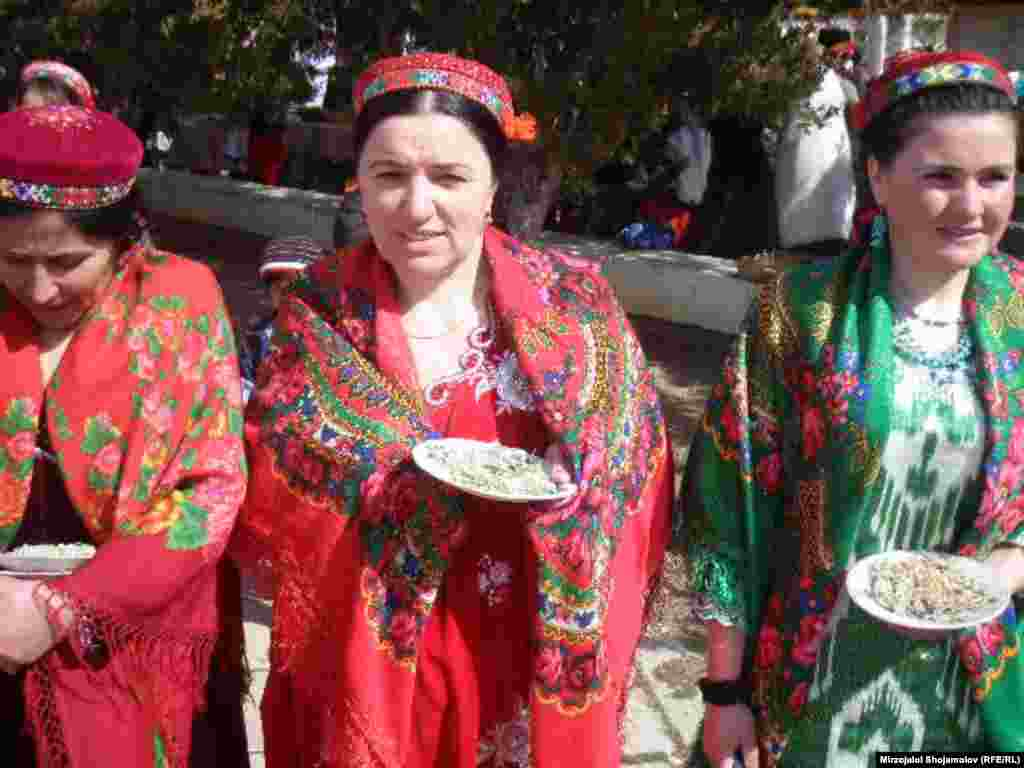 Women wear traditional dress in the mountainous Badakhshan region, bordering Afghanistan.