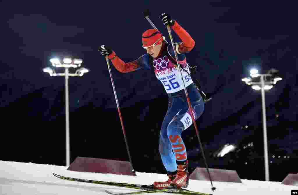 Olga Vilukhina of Russia competes in the women's biathlon 7.5-kilometer sprint competition at the Laura Cross Biathlon Center. Vilukhina won gold.