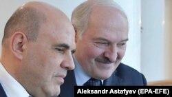 Премьер-министр России Михаил Мишустин встретился с президентом Беларуси Александром Лукашенко в Минске, 16 апреля 2021 года.