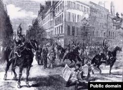 Войска на улицах Парижа во время переворота 2 декабря 1851 года, устроенного Луи-Наполеоном Бонапартом. Гравюра 1850-х годов