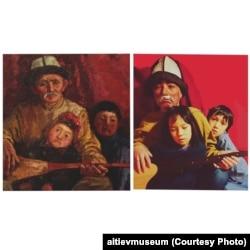 """Солдо Сүймөнкүл Чокморовдун """"Уста"""" (""""Старый уста"""") картинасы. Оңдо Гүлзат Баялиеванын эмгеги."""