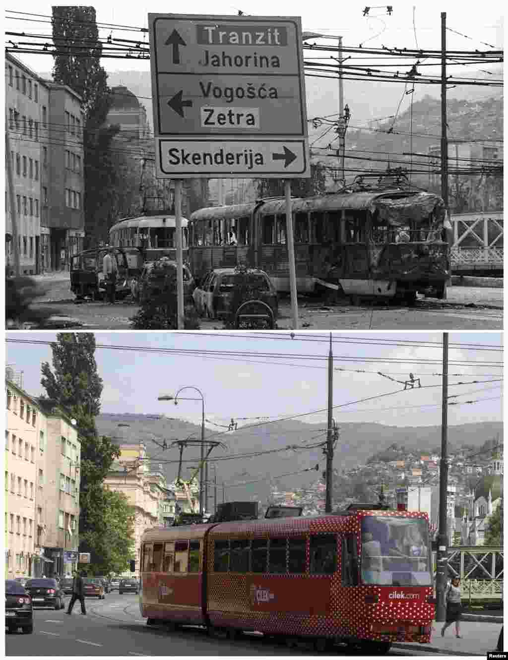 The wreckage of a tram is seen on a street following shelling in the Skenderija district in Sarajevo in March 1992. A tram travels down along the same street on May 30, 2011.