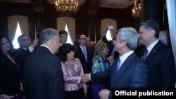 U.S. - Armenian President Serzh Sarkisian meets with leaders of the Armenian American community, Washington, 7May2015.