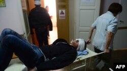 Поранений внаслідок обстрілів у Донецьку чоловік, 1 жовтня 2014 року