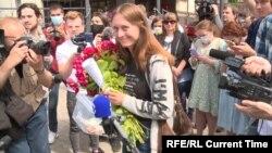 Svetlana Prokopyeva leaving her trial on July 6.
