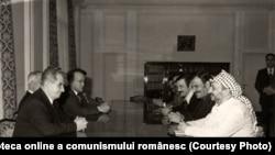 Convorbiri între Nicolae Ceauşescu şi Yasser Arafat, preşedintele Comitetului Executiv al OEP. (6 decembrie 1976). Sursa: Fototeca online a comunismului românesc; cota: 343/1976