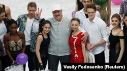 Аляксандар Лукашэнка на галя-выступе чэмпіянату Эўропы ў фігурным катаньні на «Менск-Арэне» 27 студзеня