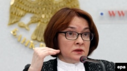 Central bank chief Elvira Nabiullina gives a press conference in Moscow on March 24.