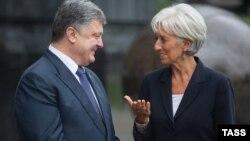 Ілюстраційне фото. Президент України Петро Порошенко та голова МВФ Крістін Лаґард. Київ, вересень 2015 року