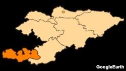 Кыргызстандын картасы. Баткен облусу бөлүп көрсөтүлгөн.